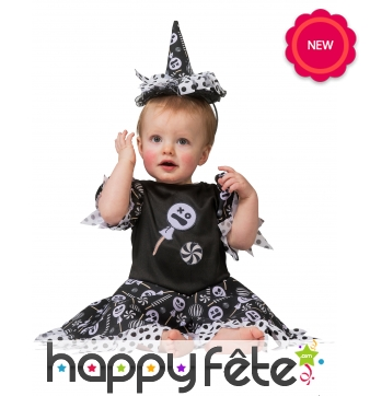 Tenue de bébé sorcière imprimés bonbons