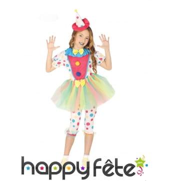 Tenue de clown à pois avec tutu et chapeau, enfant
