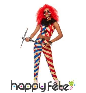 Tenue de clown maléfique moulante pour femme