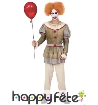 Tenue de clown vintage sinistre pour homme