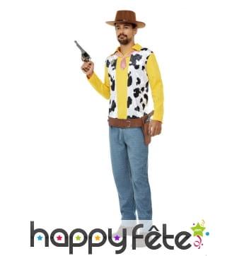 Tenue de cowboy jaune imprimé vache pour homme