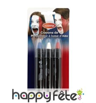 Trio de crayons bleu-blanc-rouge rétractables