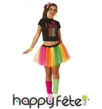 Tenue de danseuse disco avec tutu coloré