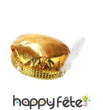 Turban doré de sultan avec plume blanche