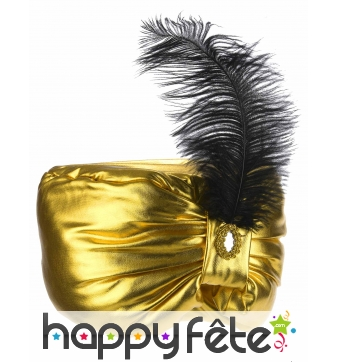 Turban doré de sultan avec plume noire, adulte