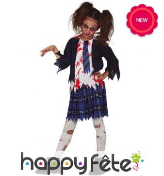 Tenue d'écolière zombie pour fille