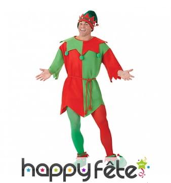 Tenue d'elf de Noël pour homme