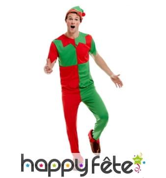 Tenue d'Elf rouge et verte pour homme