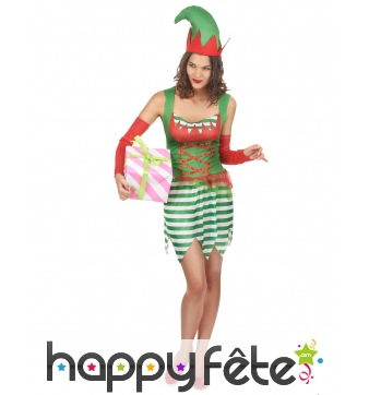 Tenue d'elfe de Noël pour femme adulte