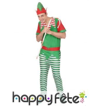 Tenue d'elfe de Noël pour homme