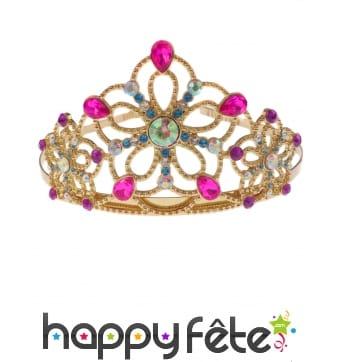 Tiare dorée et colorée de princesse