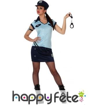 Tenue de femme policier bleue en jupe