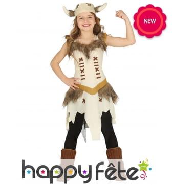 Tenue de fille viking beige pour enfant