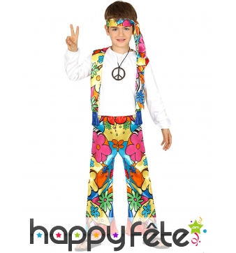 Tenue de hippie Peace and Love fleurie enfant