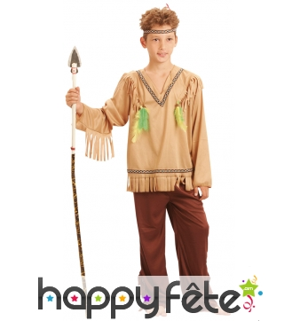 Tenue d'indien traditionnel marron pour enfant