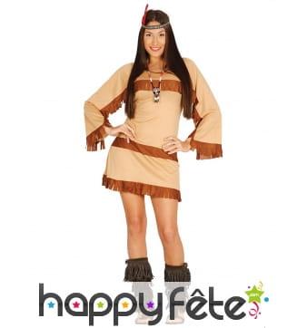 Tenue d'indienne courte beige motif ethnique
