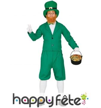 Tenue de Leprechaun vert Irlandais pour homme