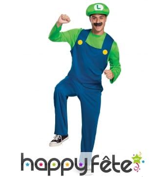 Tenue de Luigi pour homme, avec moustache