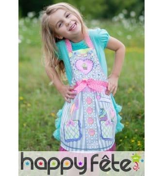 Tablier de miss cupcake à colorier pour enfant