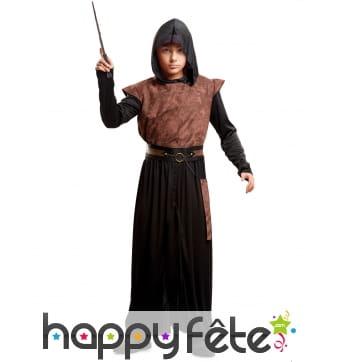 Tenue de magicien médiéval sombre pour enfant