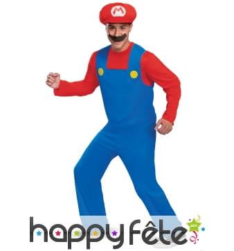 Tenue de Mario pour homme, avec moustache
