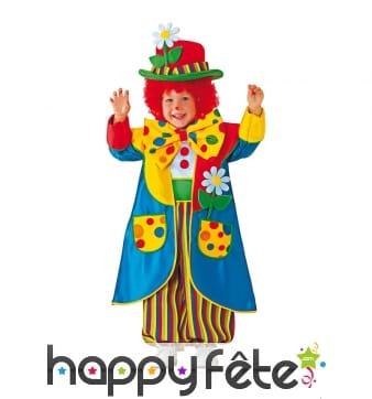 Tenue de mini clown multicolore pour enfant