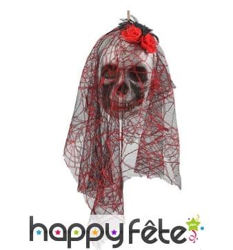 Tête de mariée squelette avec voile à suspendre