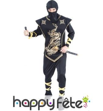 Tenue de ninja noir et doré pour adulte