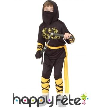 tenue de ninja noir motifs jaunes pour gar on. Black Bedroom Furniture Sets. Home Design Ideas