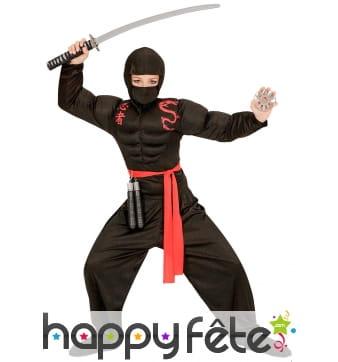 Tenue de ninja noir musclé rembourré pour enfant