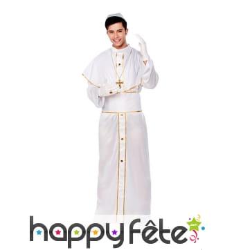 Tenue de pape blanc et doré pour homme