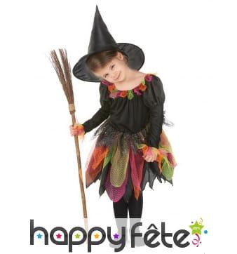 Tenue de petite sorcière avec tulles multicolores