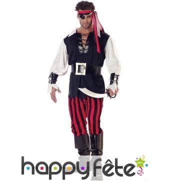 Tenue de pirate avec pantalon ligné noir et rouge
