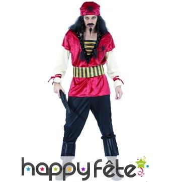 Tenue de pirate imitation velours rouge