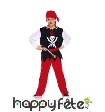 Tenue de pirate noir et rouge pour enfant