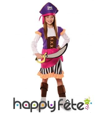 Tenue de pirate rose et violet pour fille