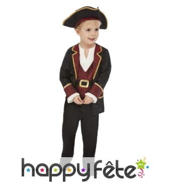 Tenue de pirate rouge et noire pour enfant, deluxe