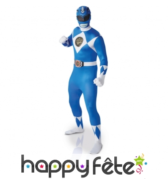Tenue de Power Rangers bleu seconde peau