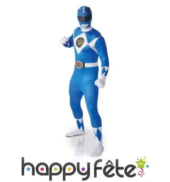 Tenue de Power Rangers bleu seconde peau