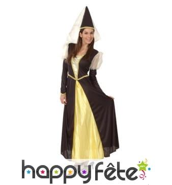 Tenue de princesse médiévale noir et or