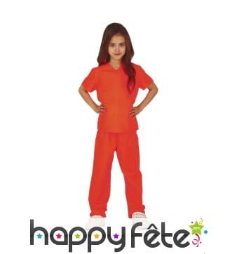 Tenue de prisonnière orange pour enfant