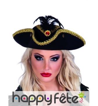 Tricorne de pirate contour doré pour femme