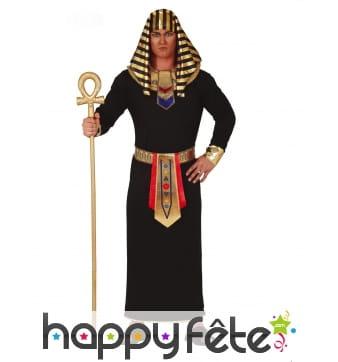 Tenue de roi d'Egypte noire et dorée pour homme