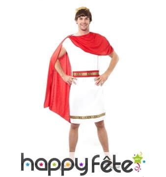 Tenue de romain blanche avec cape rouge