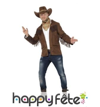 Tenue de shérif veste à franges pour homme