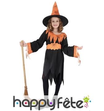 Tenue de sorcière araignée orange et noire, enfant