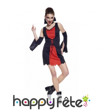 Tenue de sorcière rouge et noire en robe courte