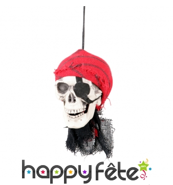 Tête de squelette pirate à suspendre