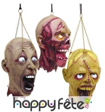 Tête de zombie décorative à suspendre