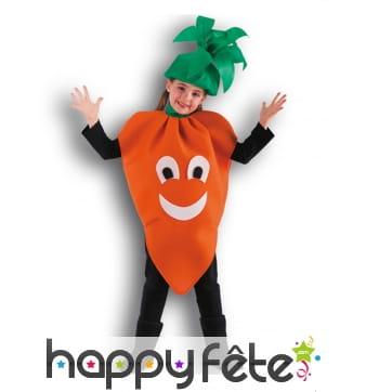 Tunique et chapeau déguisement carotte fille